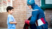 A young boy meets Captain America