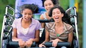 Teens hold on tight as the frantic roller coaster-style ride drops