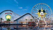 View across Paradise Lake to Mickey's Fun Wheel and California Screamin' attractions