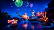 Happy King Triton rises from the water in the grand Little Mermaid Ariel's Undersea Adventure finale