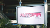 A digital sign that says Autopia powered by Honda