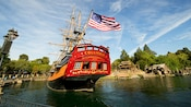 The Sailing Ship Columbia flies an American flag from 1787