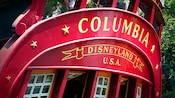 Printed on the Sailing Ship Columbia is Columbia, Disneyland U.S.A.