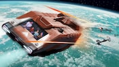 A Starspeeder vehicle escapes blasts during intergalactic battles on Star Tours - The Adventure Continues