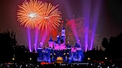Brilliant fireworks illuminate Sleeping Beauty Castle during the Fantasy in the Sky nighttime spectacular