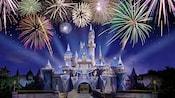 Vibrant fireworks bursting above Sleeping Beauty Castle at the Disneyland Resort Diamond Celebration