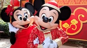 Mickey and Minnie dressed for the Happy Lunar New Year celebration at the Disneyland Resort