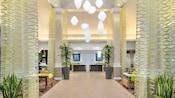 Designed with modern décor, the lobby of the Hilton Garden Inn evokes an airy, sophisticated feel