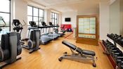 Life cycles, treadmills and other workout equipment are lined up at the Sheratons fitness center