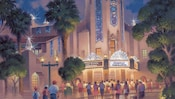 Concept art of Guests walking towards Carthay Circle Theatre decorated with banners, sparkling gems, diamond spires and a sign that reads 'Diamond Celebration'