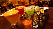 Specialty drinks, including margarita and tequila flights, on the Tortilla Jo's bar