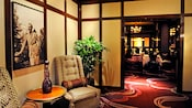 Elegant mid-century modern designed entrance to Steakhouse 55 restaurant in Disneyland Hotel