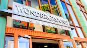 Entrance sign for WonderGround Gallery, a Downtown Disney shop