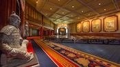 Lobby with Chinese sculptures and paintings at the theater showing 'Reflections of China'