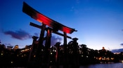 After sundown by the red torii gate at the Japan Pavilion in Epcot theme park