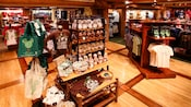 Store display features 'Get back to nature' t-shirts, plush animals, tote bags and more