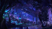 Un grupo de Na'vi pasea por la selva bioluminiscente en Pandora – The World of Avatar