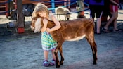 A girl hugs a goat at Affection Section petting zoo