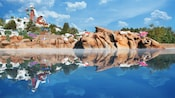 Calm waters in Melt-Away Bay reflect the water park's Mount Gushmore