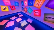 A room for making music with instrument-picture panels at ImageWorks - The