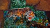 A fierce tiger bares its teeth in the dark jungle