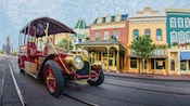 A public transportation jitney car sits on Main Street, U.S.A. in Magic Kingdom park