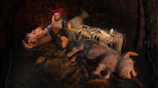 A drunken pirate sits with happy pigs in a sty at the Pirates of the Caribbean attraction