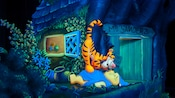 An illustration of Tigger enthusiastically greeting Pooh at The Many Adventures of Winnie the Pooh