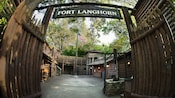 The sign and entrance to Fort Langhorn on Tom Sawyer Island in Frontierland