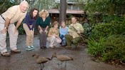 A group of Guests looking on in wonder as an animal expert gives an up-close look at a duo of birds