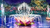 Artist rendering of a lotus flower fountain spouting water