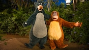 Baloo and King Louie from Walt Disney's The Jungle Book embrace one another as they await Guests