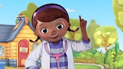 Smiling Doc McStuffins in her backyard playhouse clinic at Animation Courtyard in Disney's Hollywood Studios.
