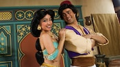 Princess Jasmine and Aladdin strike a pose at Meet Characters from Aladdin in Adventureland