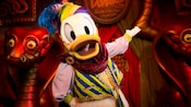Donald, dressed as a snake charmer, at Pete's Silly Sideshow in Storybook Circus