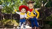 Jessie and Woody strike a pose at Meet Toy Story Friends in Frontierland at Magic Kingdom park