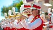 The brass section of The Main Street Philharmonic marching band at Walt Disney World Resort