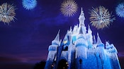 Evening fireworks explode in the star-filled sky while holiday lights cascade down Cinderella Castle