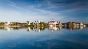 A waterfront view of Disney's Grand Floridian Resort & Spa seen from Seven Seas Lagoon