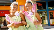 2 girls after their princess makeovers at Bibbidi Bobbidi Boutique in the Downtown Disney area