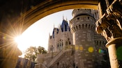 A view of Cinderella Castle through a stone archway