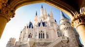 Skyward view of Cinderella Castle framed by an archway