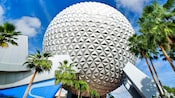 Spaceship Earth towers into the Florida sky directly next to a collection of palm trees at Epcot
