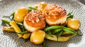 Seared scallops with green beans, butter potatoes, brown butter vinaigrette and smoked bacon