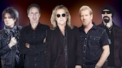 The 5 members of the rock band Night Ranger as casually posed, ready to take the stage