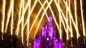 Castelo da Cinderela iluminado em roxo com fogos de artifício estourando no céu