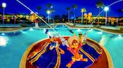 Los Tres Caballeros en la piscina de Disney's All-Star Music Resort