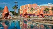Cozy Cone Pool with giant cone cabanas at Disney's Art of Animation Resort