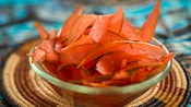 Thin slices of watermelon rind in a bowl