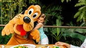 Surrounded by lush foliage, a girl hugs Pluto during an outdoor Disney Character Dining experience